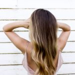 person with ombre hair extensions