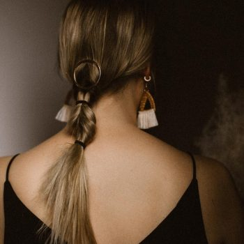 clip-in ponytail in woman's hair