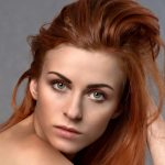 girl with red hair extension