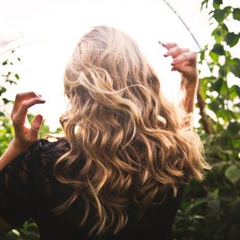 woman looking back showing her hair
