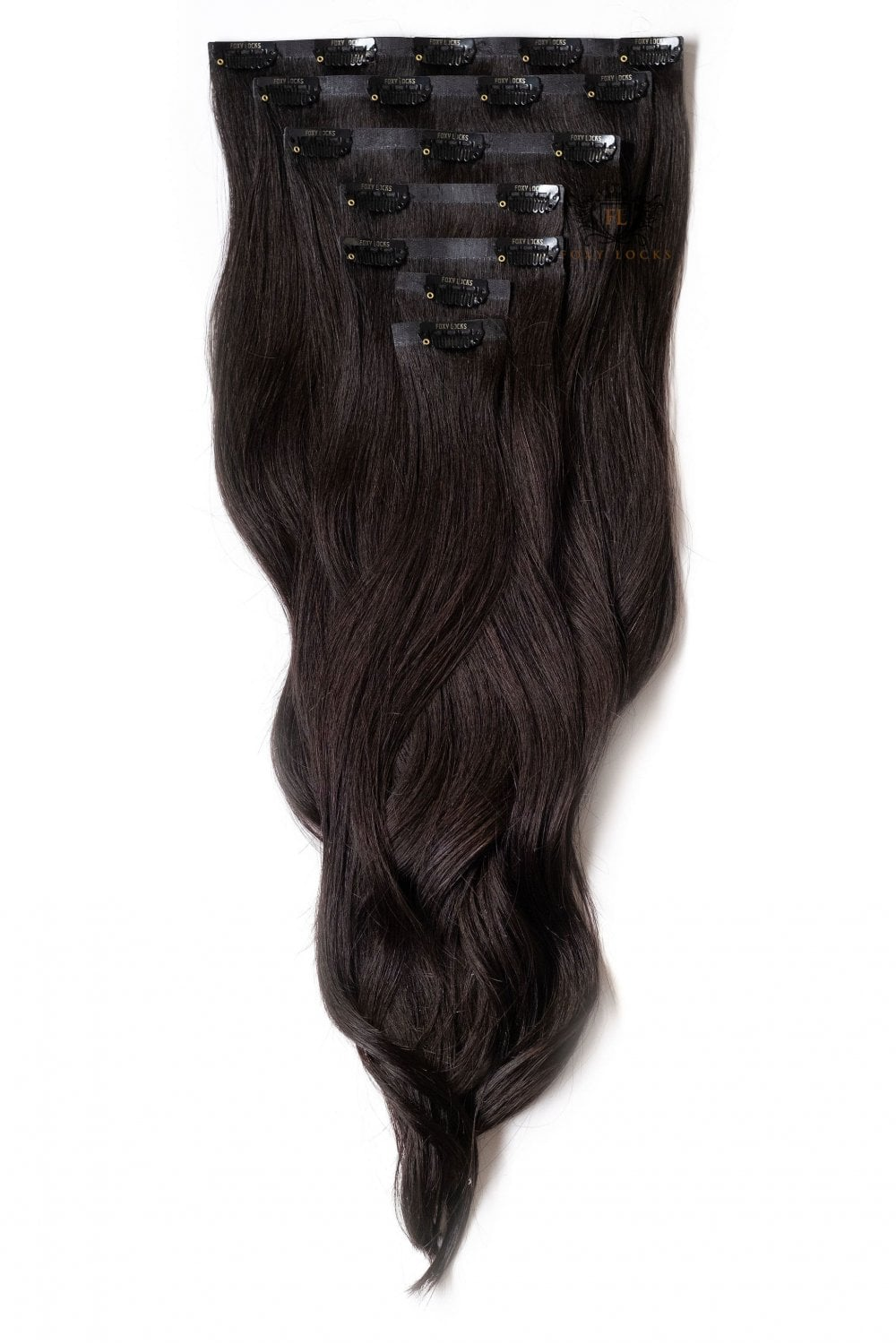 Brown Black Seamless Deluxe 20 Clip In Human Hair Extensions 165g