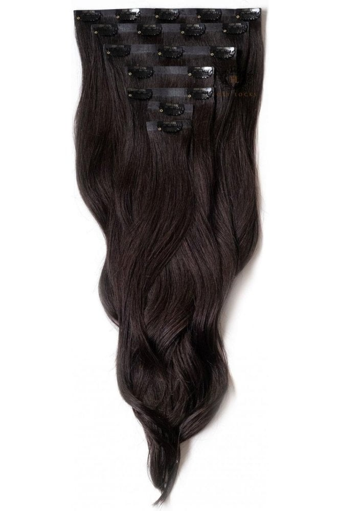 "Brown Black - Deluxe 20"" Seamless Clip In Human Hair Extensions 165g"