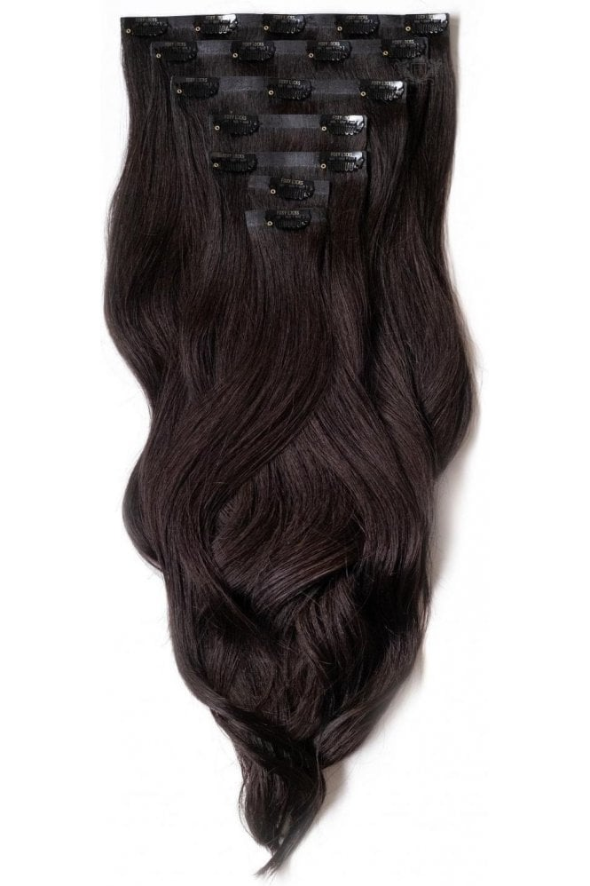 """Brown Black - Superior 22"""" Seamless Clip In Human Hair Extensions 230g"""