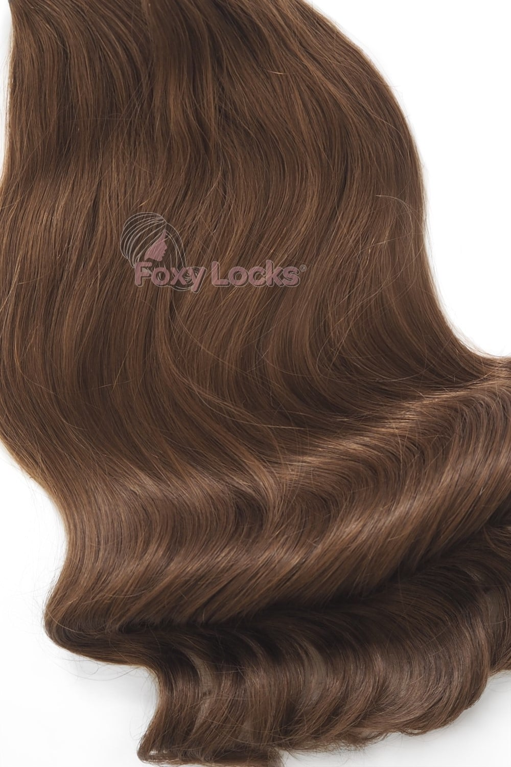 Chestnut Brown 6 Deluxe 20 Clip In Human Hair Extensions 165g