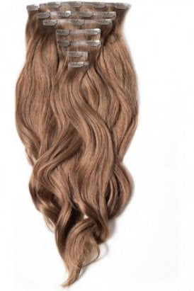 """Chestnut - Superior 22"""" Seamless Clip In Human Hair Extensions 230g"""