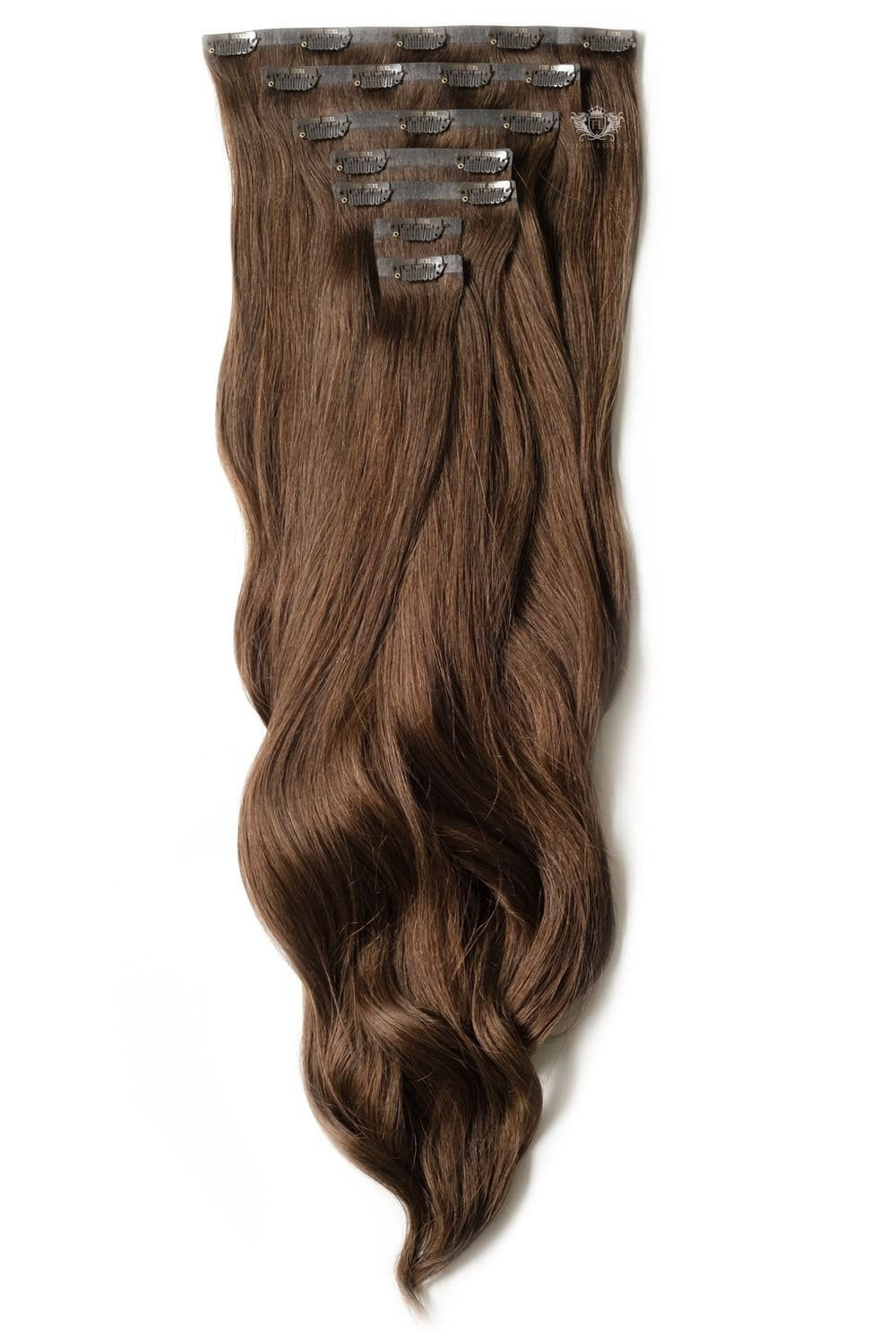 Chocolate Luxurious Seamless 24 Clip In Human Hair Extensions 280g