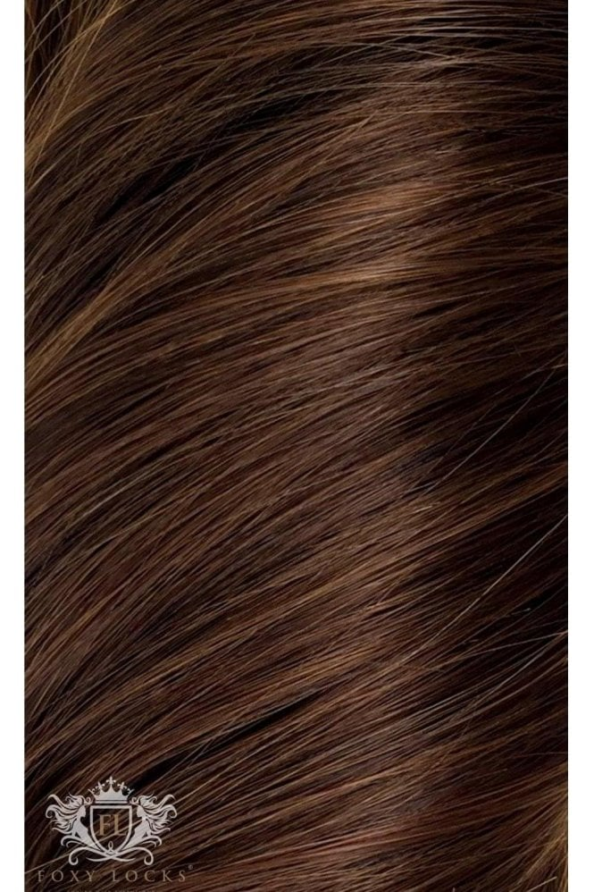 "Chocolate - Volumizer 20"" Seamless Clip In Human Hair Extensions 50g"
