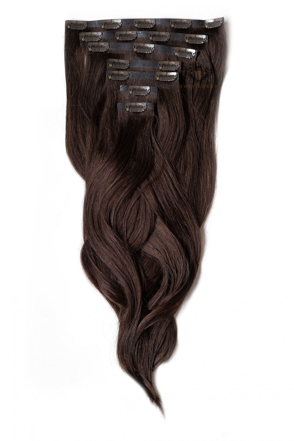Cocoa Seamless Deluxe 20 Clip In Human Hair Extensions 165g