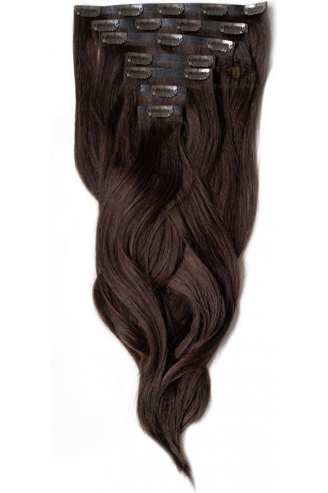"""Cocoa - Superior 22"""" Seamless Clip In Human Hair Extensions 230g"""