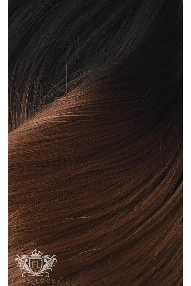 "Dark Espresso Ombre - Deluxe 20"" Seamless Clip In Human Hair Extensions 165g"