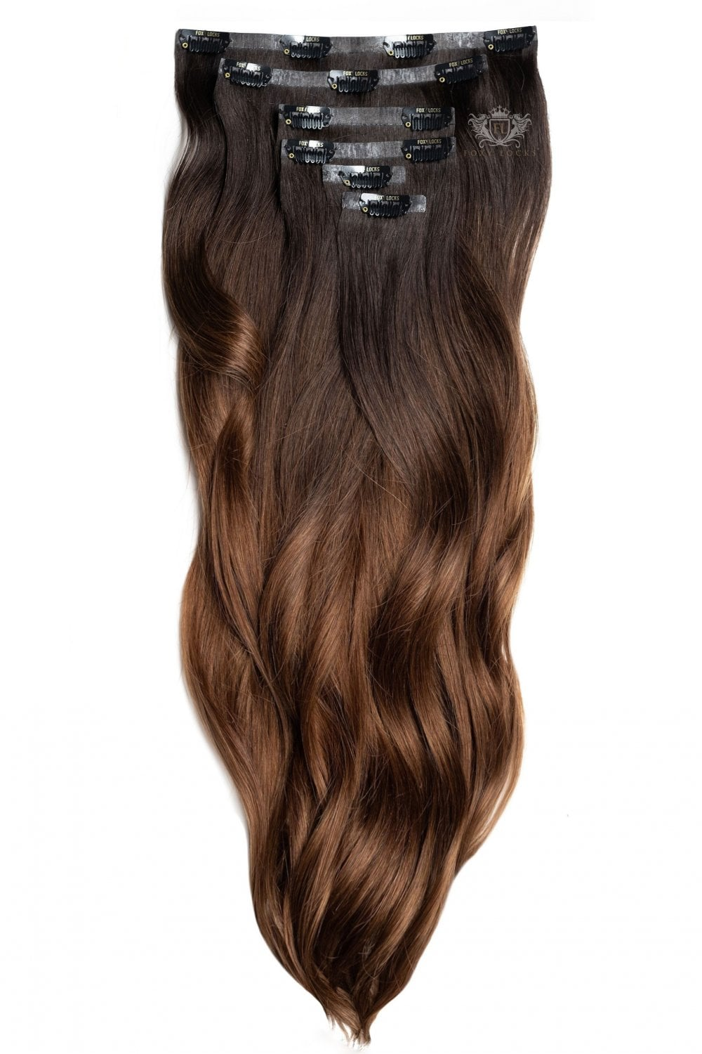 Dark Espresso Ombre Luxurious Seamless 24 Clip In Human Hair