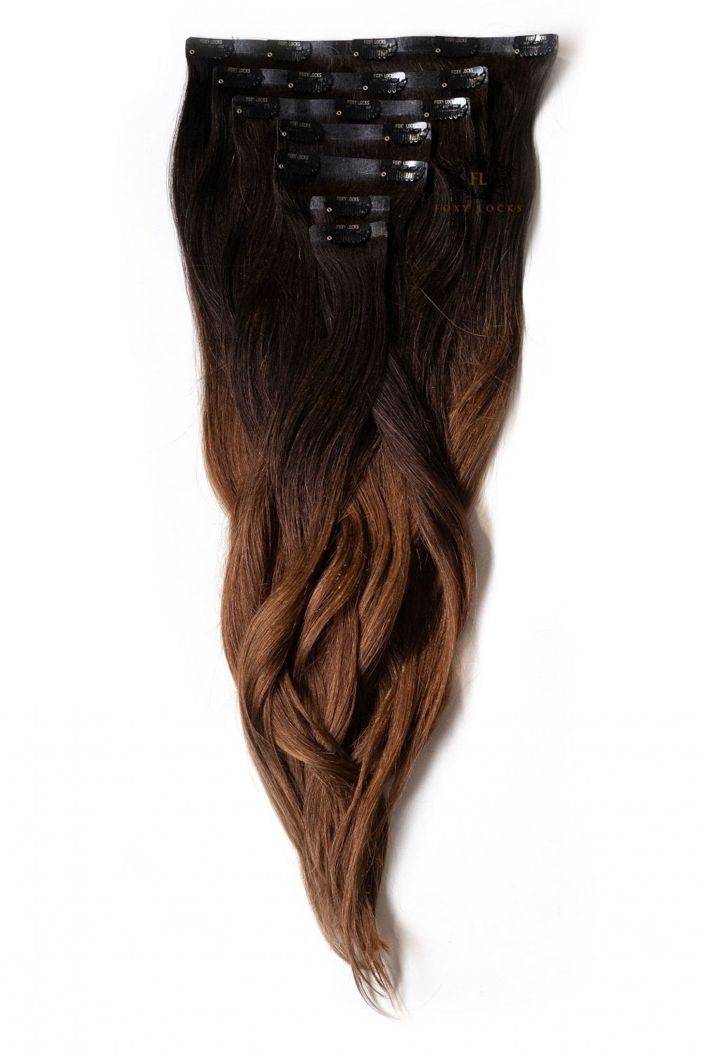 Dark Espresso Ombre Regular Seamless 18 Quot Clip In Human Hair Extensions 125g From Foxy Locks