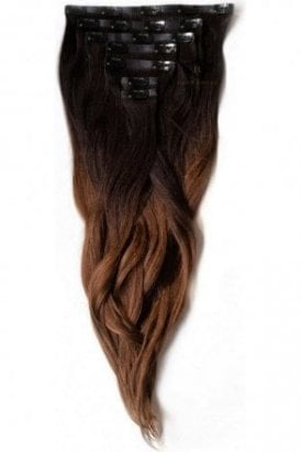 "Dark Espresso Ombre - Regular Seamless 18"" Clip In Human Hair Extensions 125g"