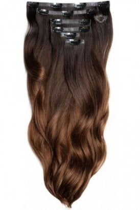 "Dark Espresso Ombre - Superior 22"" Seamless Clip In Human Hair Extensions 230g"