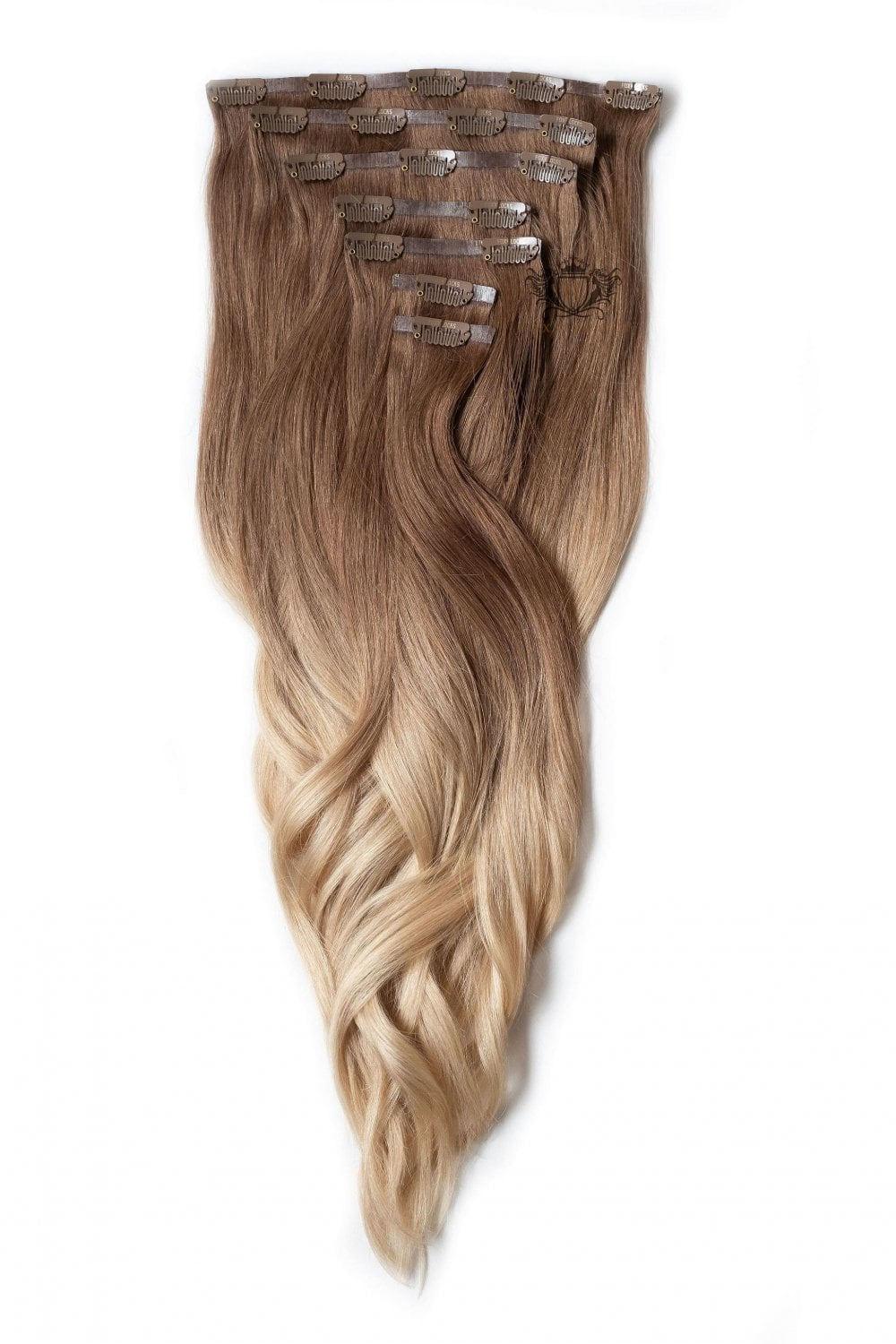 Honey Spice Ombre Elegant Seamless 18 Clip In Human Hair Extensions 130g Clip In Hair Extensions From Foxy Locks Uk