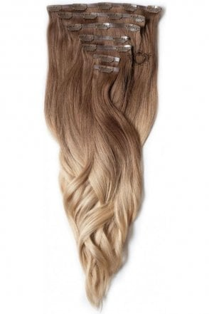 "Honey Spice Ombre - Regular Seamless 18"" Clip In Human Hair Extensions 125g"