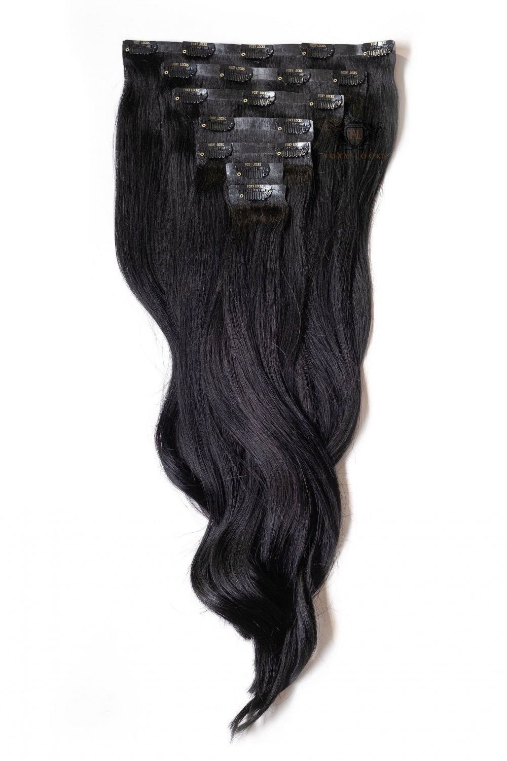 Jet Black Seamless Deluxe 20 Clip In Human Hair Extensions 165g