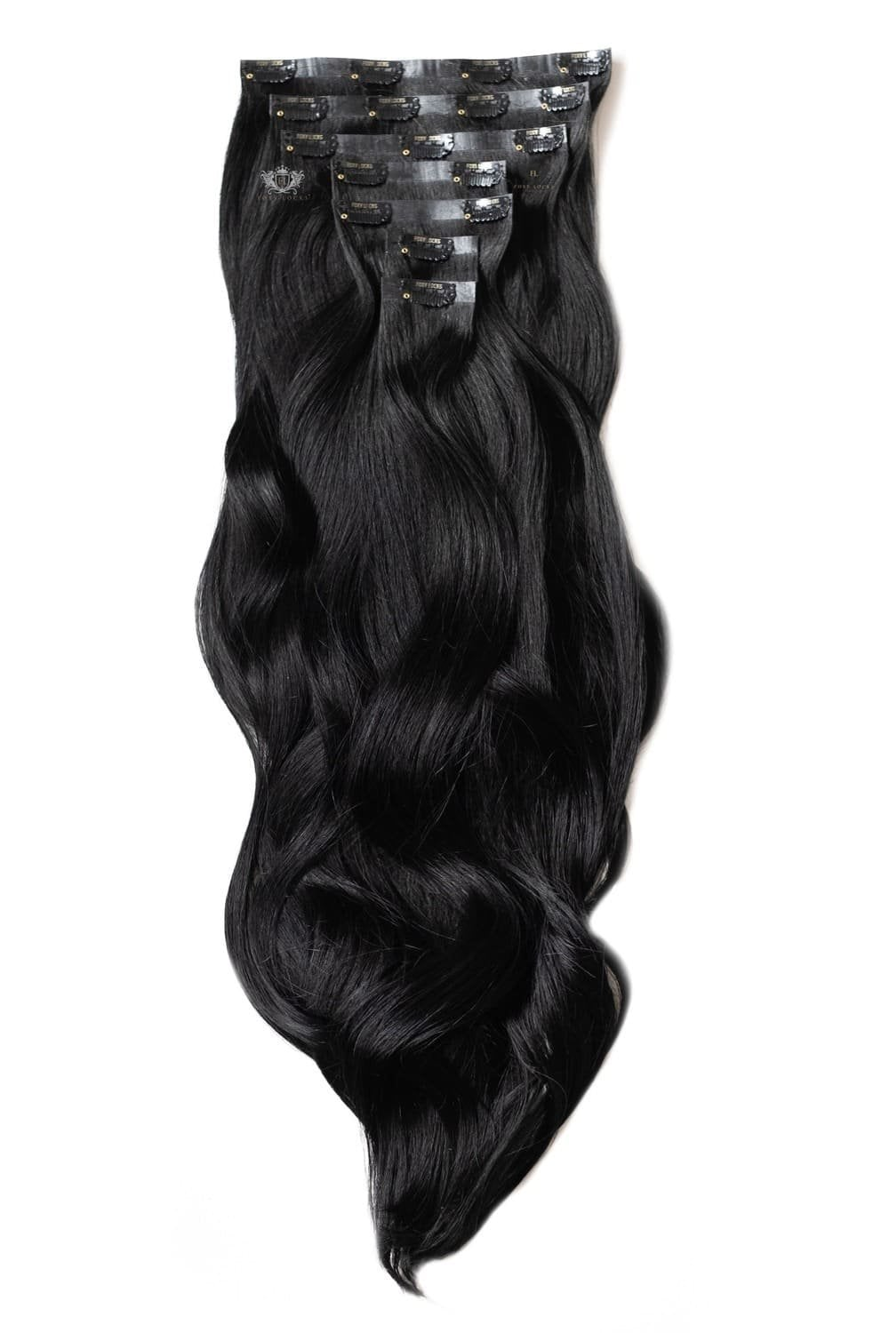 Jet Black Luxurious Seamless 24 Clip In Human Hair Extensions 280g