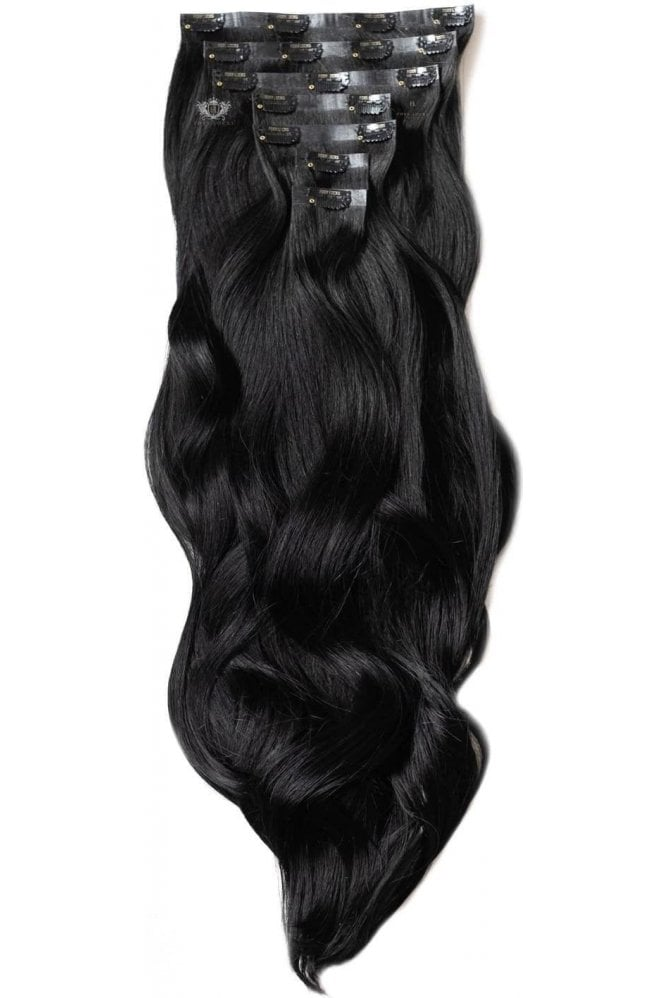 "Jet Black - Luxurious 24"" Seamless Clip In Human Hair Extensions 280g"