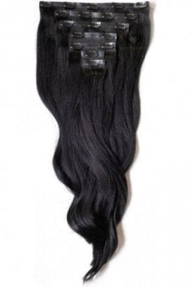 "Jet Black - Regular Seamless 18"" Clip In Human Hair Extensions 125g"