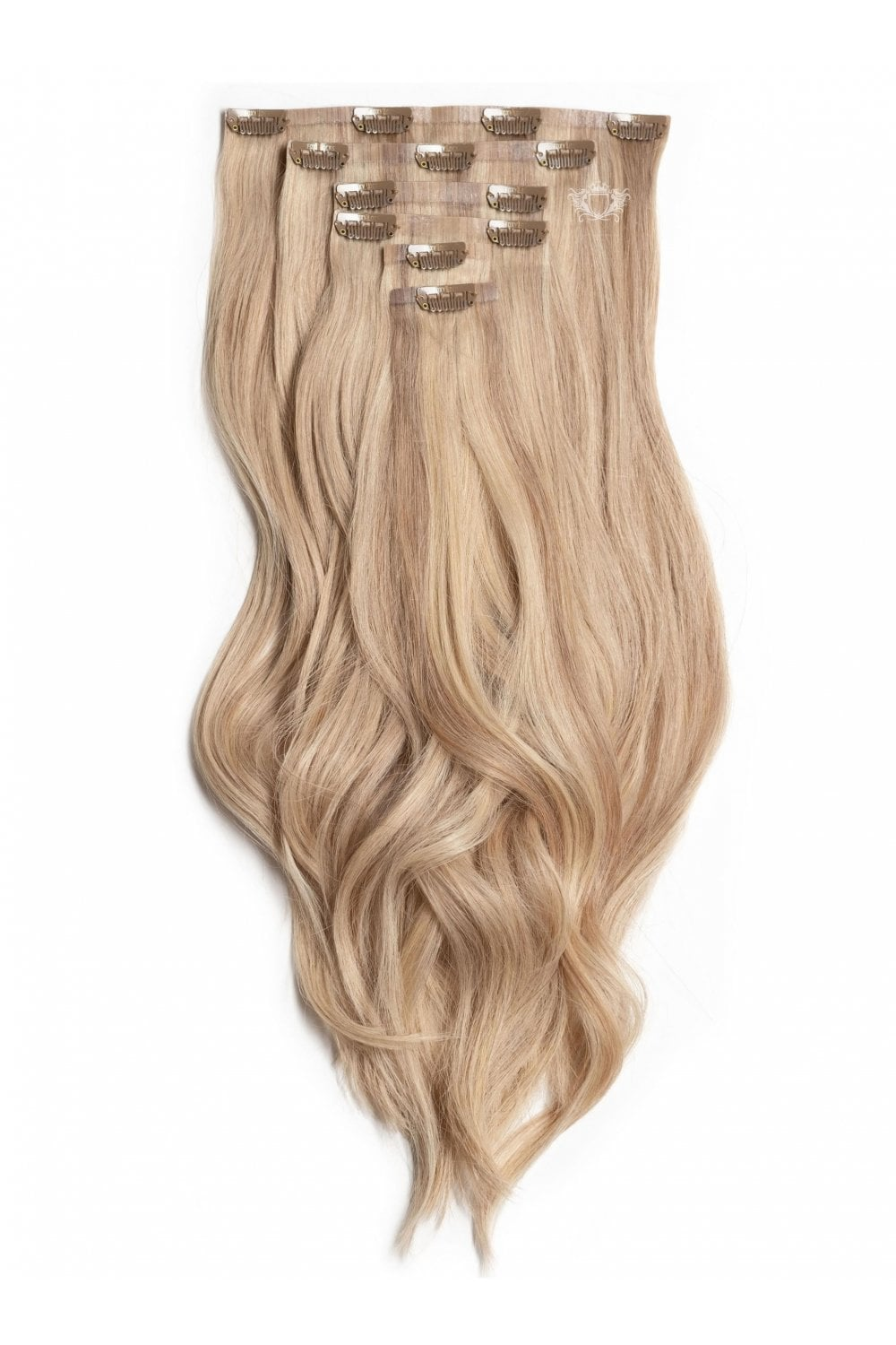 Platinum blonde seamless deluxe 20 clip in human hair extensions latte blonde deluxe 20 seamless clip in human hair extensions 165g pmusecretfo Images