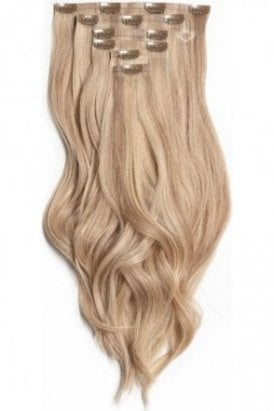 """Latte Blonde - Superior 22"""" Seamless Clip In Human Hair Extensions 230g"""