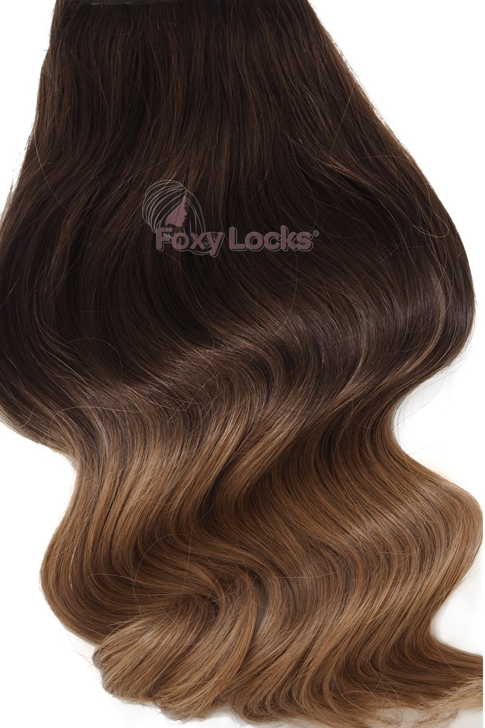 toffee ombre deluxe 20 clip in human hair extensions 165g
