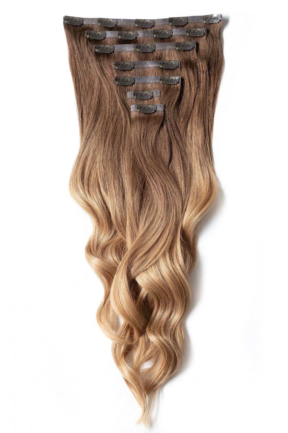 Mocha Toffee Ombre Seamless Deluxe 20 Clip In Human Hair Extensions