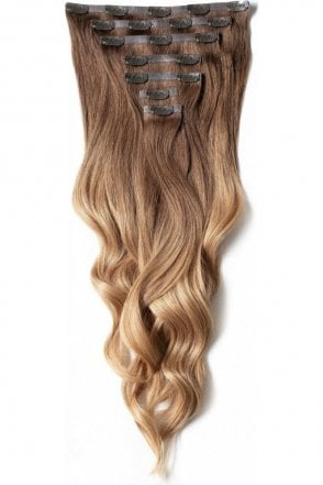 "Mocha Toffee Ombre - Regular Seamless 18"" Clip In Human Hair Extensions 125g"