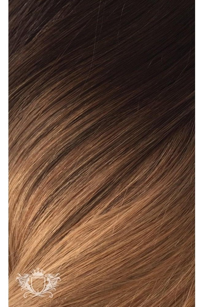 """Mocha Toffee Ombre - Volumizer 20"""" Seamless Clip In Human Hair Extensions 50g"""