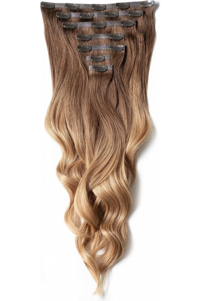 "[PRE ORDER] Mocha Toffee Ombre - Deluxe 20"" Seamless Clip In Human Hair Extensions 165g"
