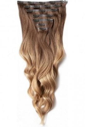 """Mocha Toffee Ombre - Deluxe 20"""" Seamless Clip In Human Hair Extensions 165g"""