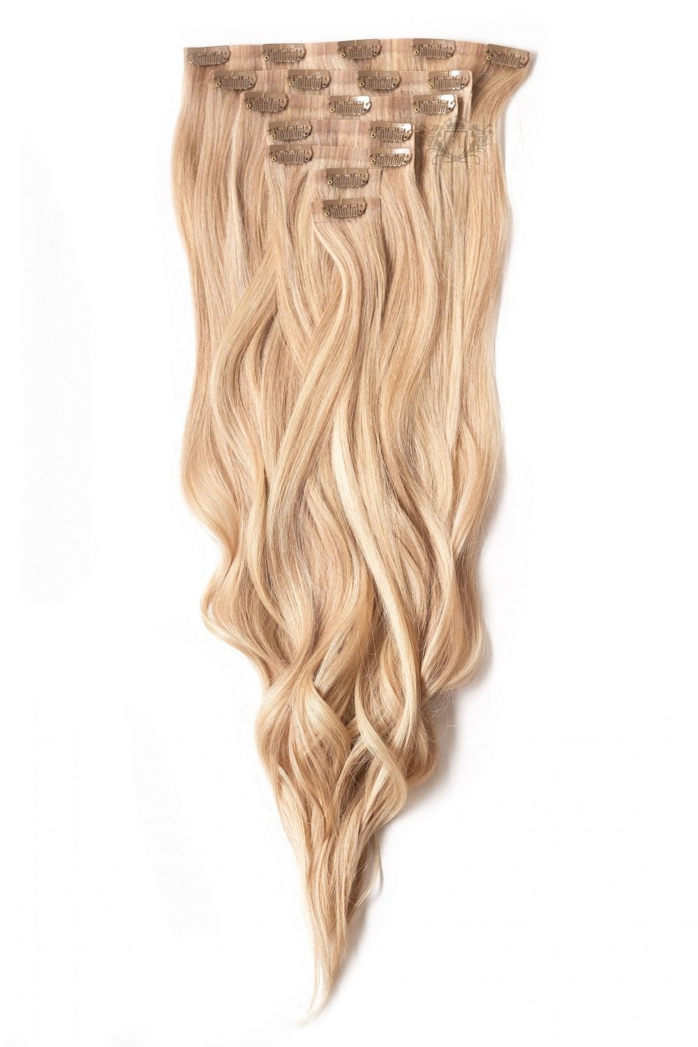 Seamless clip in hair extensions sandy blonde deluxe 20 seamless clip in human hair extensions 165g pmusecretfo Images