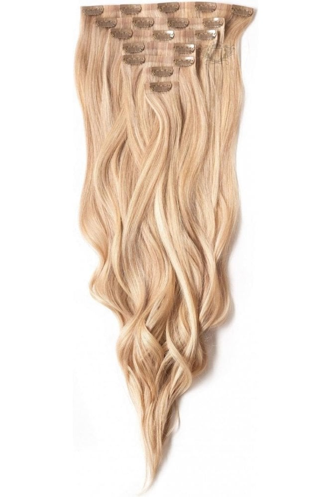 "Sandy Blonde - Deluxe 20"" Seamless Clip In Human Hair Extensions 165g"