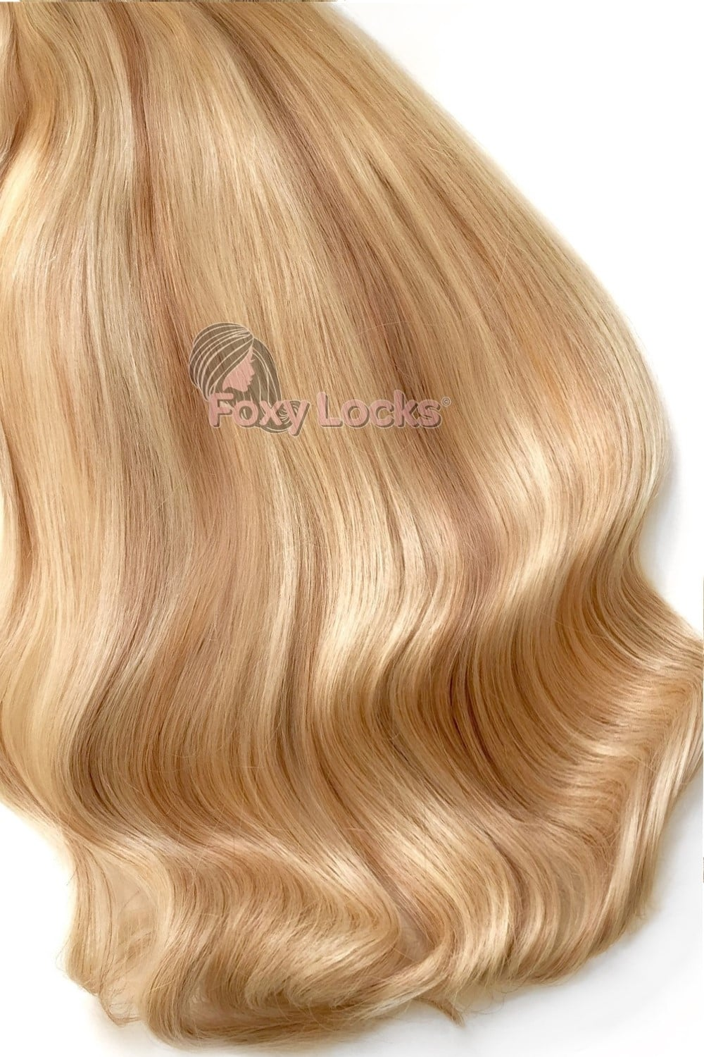 Sandy Blonde Highlights Superior 20 Clip In Human Hair Extensions