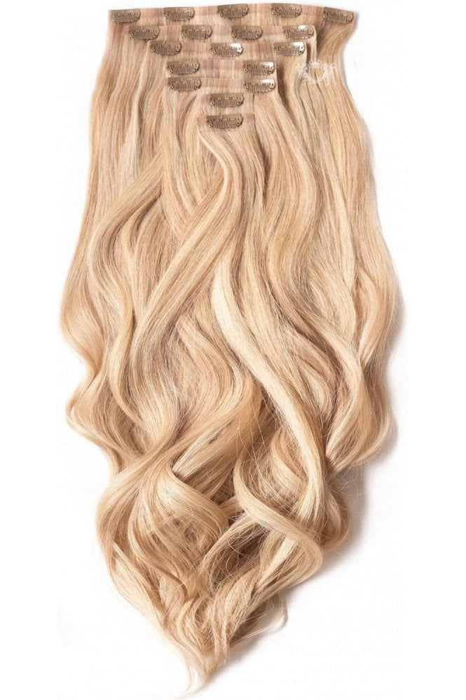 """Sandy Blonde - Superior 22"""" Seamless Clip In Human Hair Extensions 230g"""