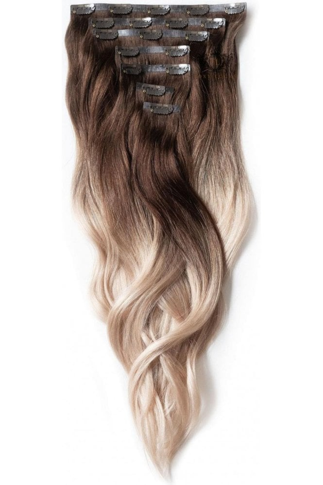 """Vanilla Frappe Ombre - Deluxe 20"""" Seamless Clip In Human Hair Extensions 165g"""