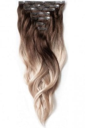 "Vanilla Frappe - Regular Seamless 18"" Clip In Human Hair Extensions 125g"
